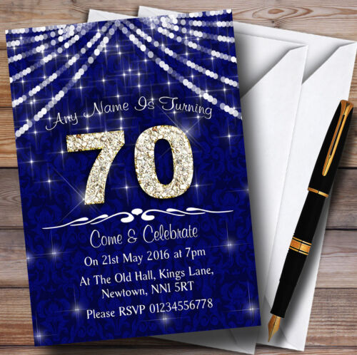 70Th Navy Blue /& White Bling Sparkle Birthday Party Personalised Invitations