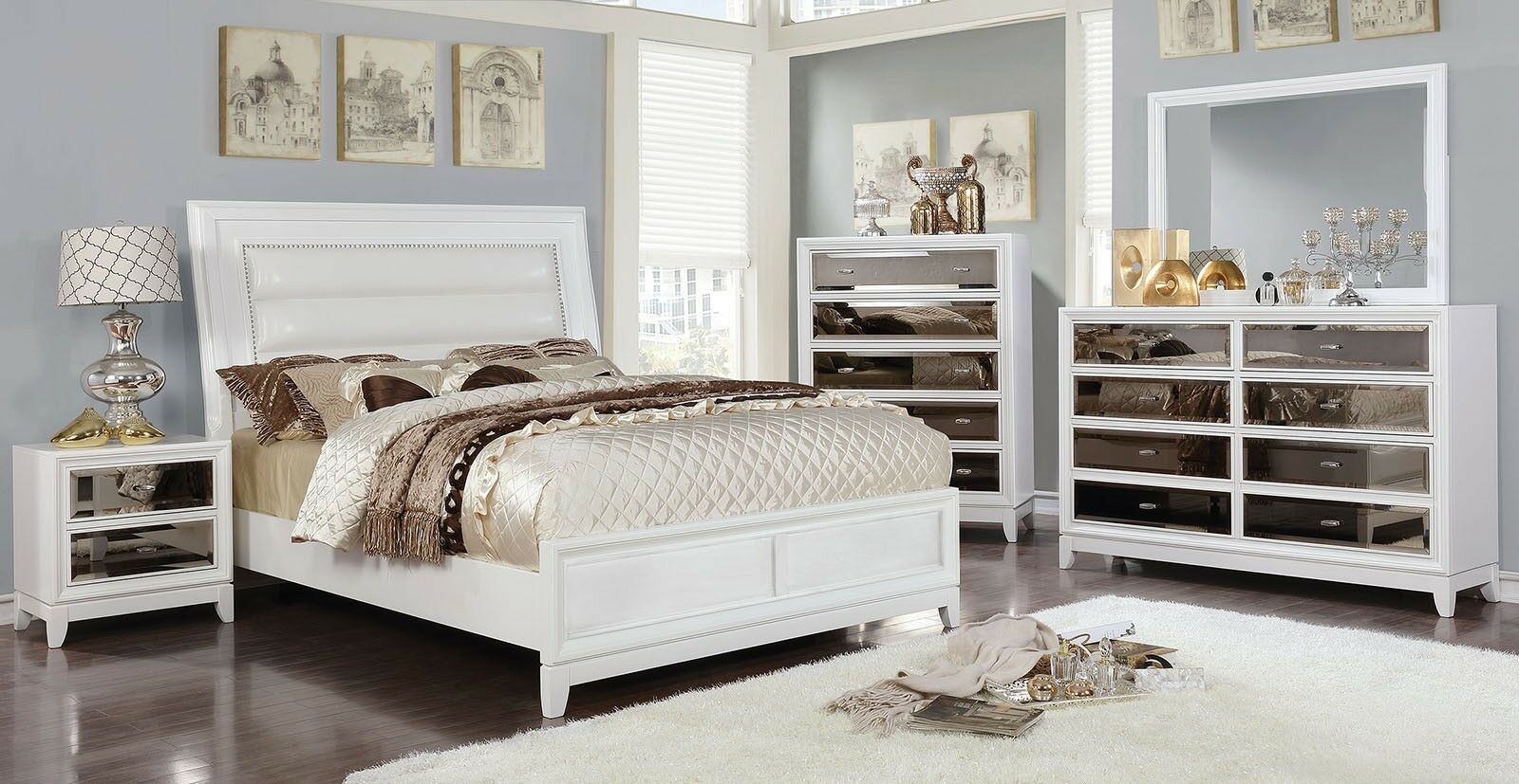 White Color 1piece Queen Size Bed