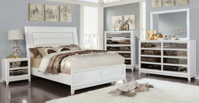 . Luxury Contemporary Collides White Color 1piece Queen Size Bed Bedroom  Furniture