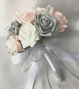 Posy bouquet baby pink white grey roses artificial wedding image is loading posy bouquet baby pink white amp grey roses mightylinksfo
