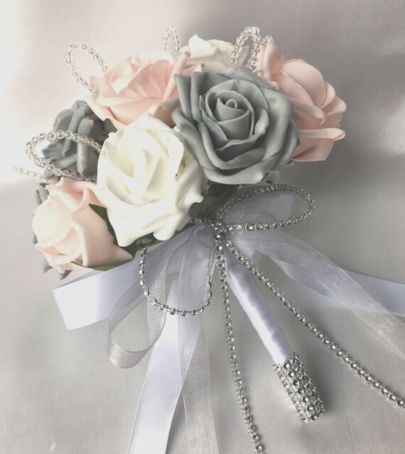 POSY BOUQUET BABY PINK WHITE GREY ROSES ARTIFICIAL WEDDING FLOWERS