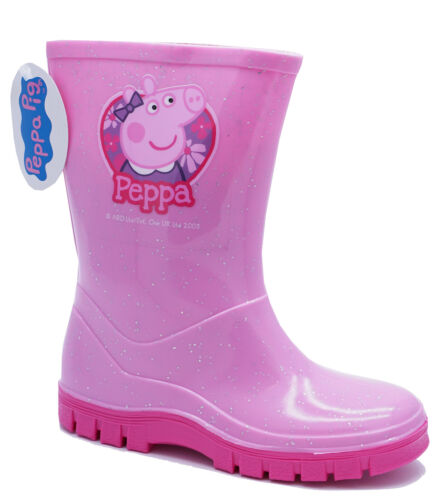 Filles Rose PEPPA PIG Bottes Pluie SPLASH School Infant Wellington Boots UK 4-10