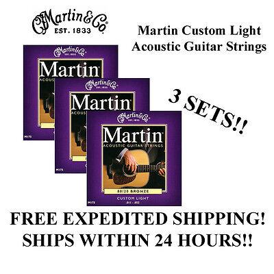 ** 3 SETS - MARTIN M175 ACOUSTIC GUITAR STRINGS CUSTOM LIGHT 80/20 BRONZE **