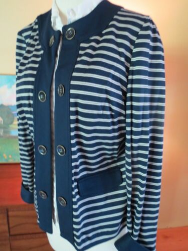 Stripe Chico's Størrelse S Hvid 6 Blå 4 W Sailor Tag Jacket Ponte Womens 0 New UwqxPUB