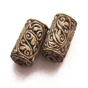 Silver-Plated-2-Beads-Tube-Barrel-Tibetan-Nepalese-Ethnic-Handmade-Nepal-BD3264a