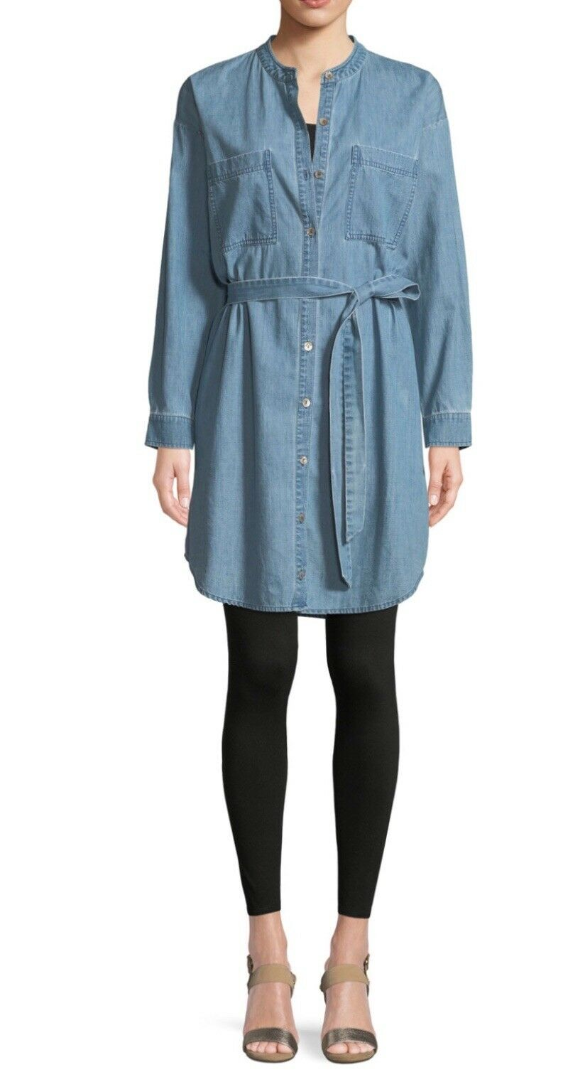 Eileen Fisher Chambrey Organic Cotton Denis Belted Shirt Dress Storlek Medium