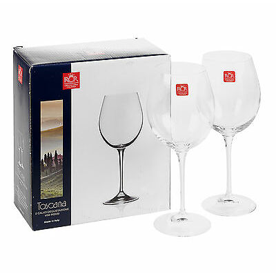 2 x 640cc RCR Bordeaux Red White Wine Tasting Glasses Luxion Crystal Glassware