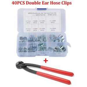 40Pcs-5-15MM-Double-Ear-Pinch-Type-Crimp-Hose-Clamps-With-Clamp-Pliers-Universal