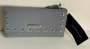 NEW-TOMMY-HILFIGER-GRAY-CONTINENTAL-CHECKBOOK-CLUTCH-WALLET-PURSE-SALE