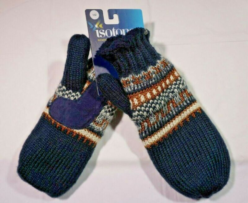 Nwt Isotoner Women's 1size Blue Knit Mittens Lined W Palm Patch Terrific Value