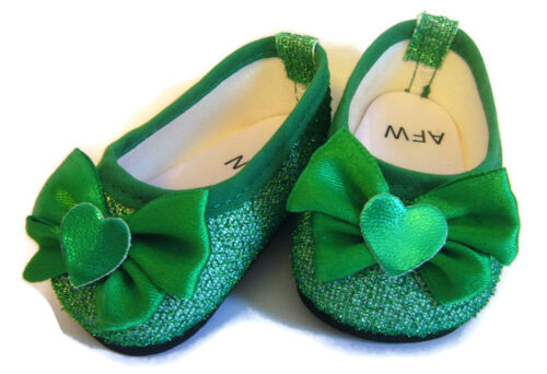 For 18 American Girl Doll Clothes Green Sparkle Shoes Flats Pumps Bows