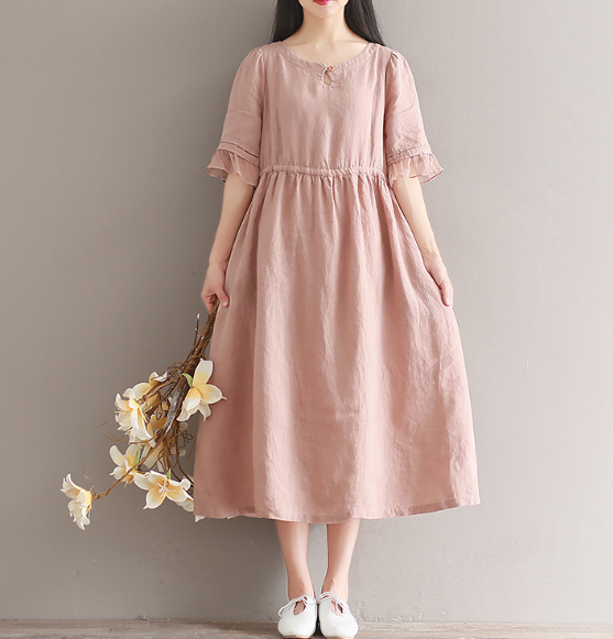 Women's Retro Tide Cotton Linen Dress Spring Summer New Short Sleeve Loose Large