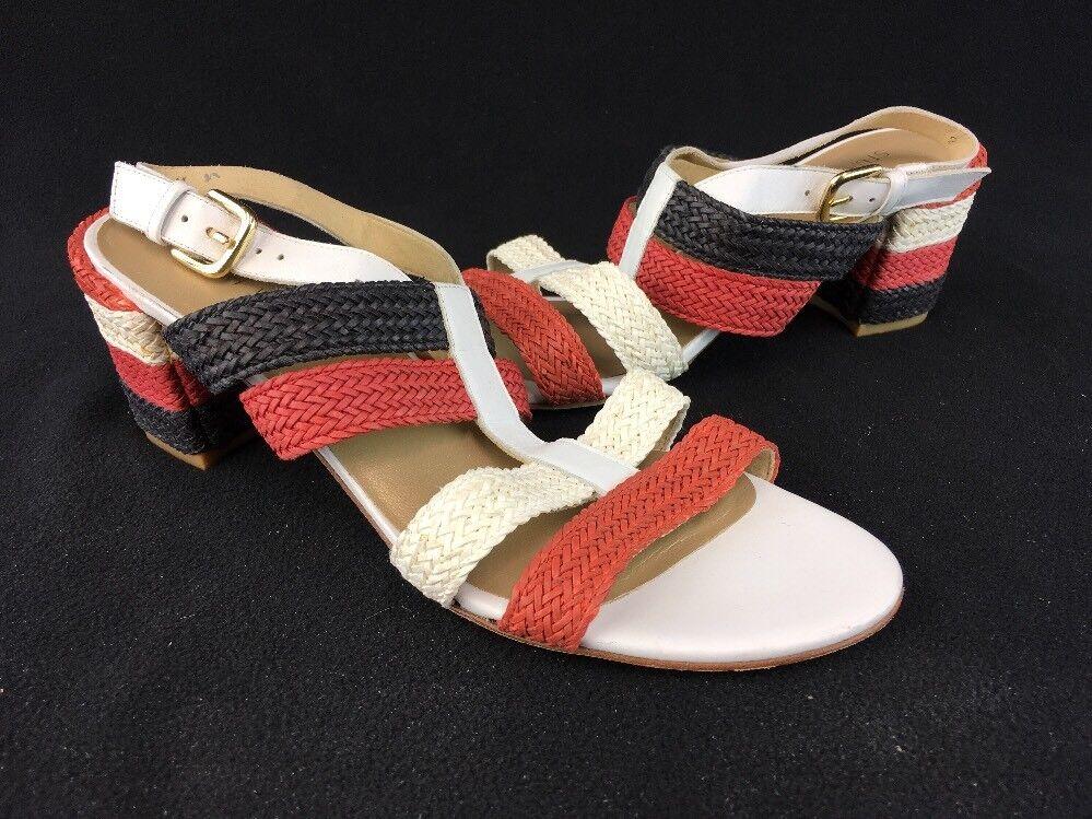 Stuart Weitzman Red White Black LTHR Braided Strap Sandal Size 9M  D2187