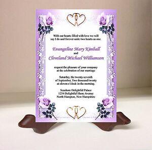 purple rose flower lace heart wedding invitation rsvp card set ebay