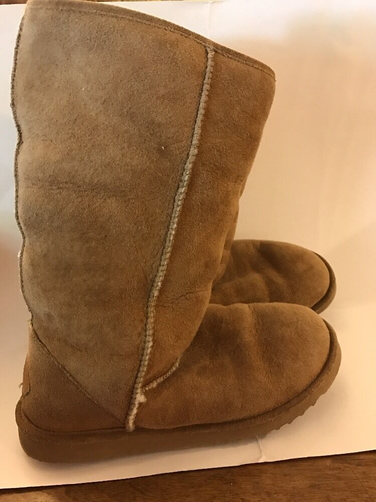 Minnetonka Slipper Boots Suede And Fur Golden Tan Women's US Size 8