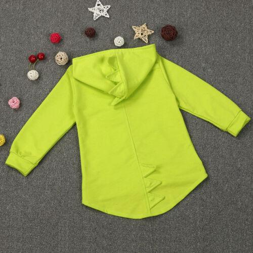 Kids Boys Girls Dinosaur Hoodie Coat Jacket Sweatshirt Zip Up Top Jumper Outwear