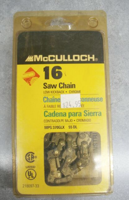 """CHAINSAW SAW CHAIN BLADE McCULLOCH 16"""" MPG 370GLX 55DL New In Pack"""