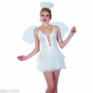 Snow-Angel-White-Fairy-Womens-Fancy-Dress-Costume-with-Wings-amp-Halo