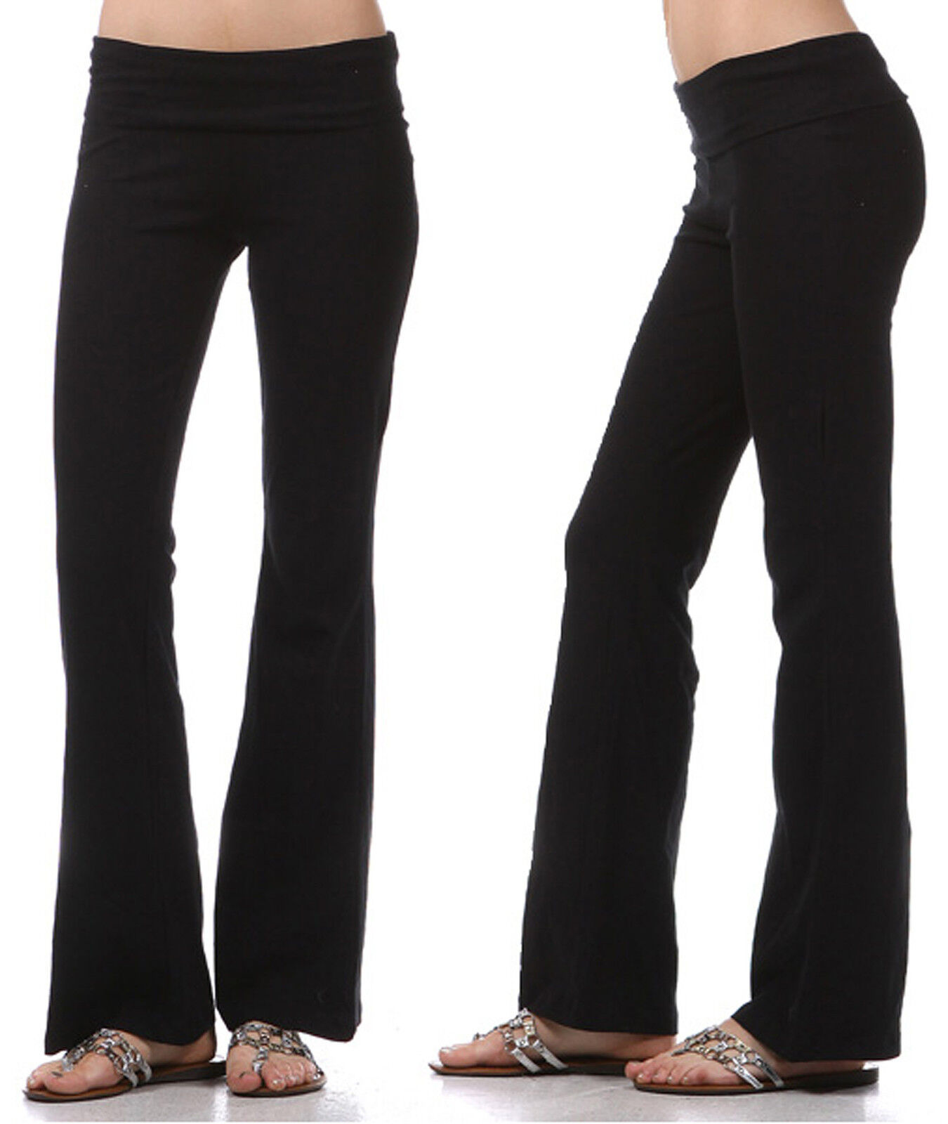 YOGA Pants Flare Leg Long Fitness Foldover Waist Womens Workout Gym Zenana