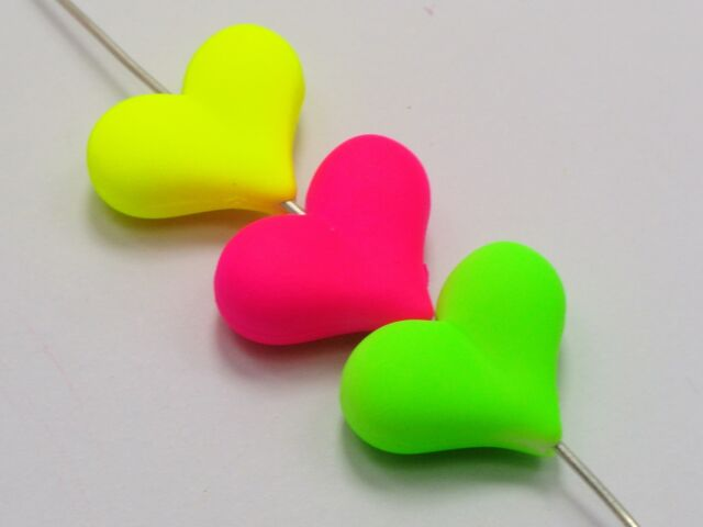 125 Mixed Matte Neon Color Acrylic Puffy Heart Charm Beads 22X16mm Rubber Tone
