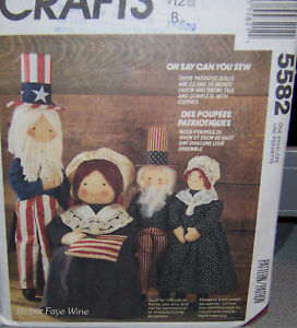 McCall's 5582 Uncle Sam & Betsey Ross Dolls Pattern Complete