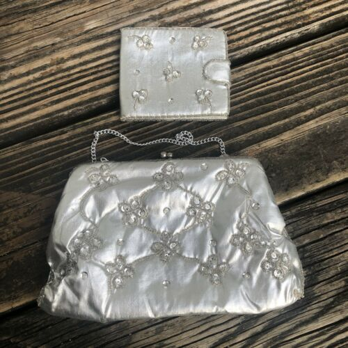 Vtg Bon Soir Silver Bead Sequin Purse Metallic Fab