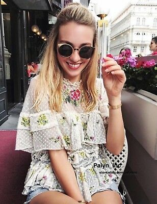 Rare/_NWT ZARA SS17 2017 ECRU EMBROIDERED TULLE BLOUSE FLOWING TOP/_M