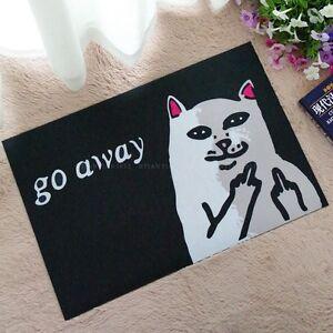 Go Away Rubber Floor Mat Funny Sarcasm Doormat Non Slip