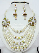 Antique Gold Plated Diamond Stone Pearl Party Necklace Earring Jewellery Set