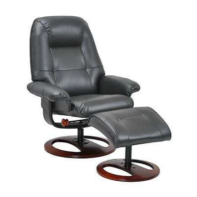 Enjoyable Benchmaster Black Leather Recliner Chair And Ottoman With Swivel Walnut Base Ebay Short Links Chair Design For Home Short Linksinfo