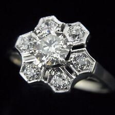 Vintage 1.07ct Old Euro Brilnt Diamonds 14k White Gold Ring Art Deco Engagement