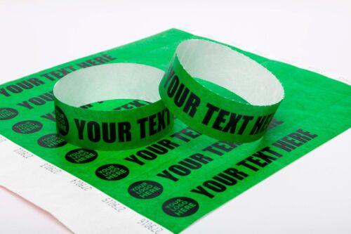 "100 Custom Printed Dark Green 1/"" Tyvek Paper Wristbands for Events,Festivals,"