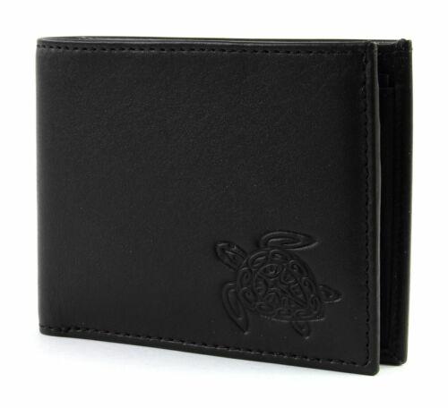 oxmox Leather Pocketbörse Geldbörse Turtle Schwarz Neu