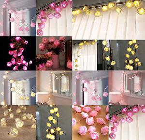 2 5m 20 led pile fleur rose guirlande lumineuse mariage f te d coration de no l ebay. Black Bedroom Furniture Sets. Home Design Ideas