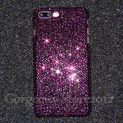Shockprood Bling Crystal Purple Real Diamond Case Cover For iPhone 6s 7 8 Plus X
