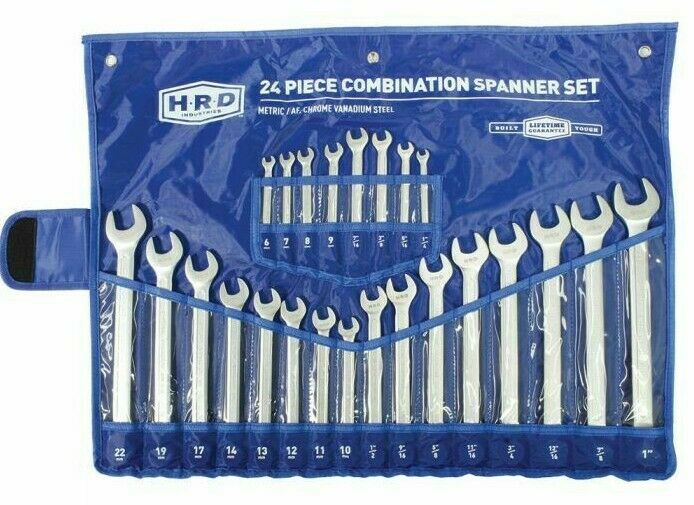 HRD COMBINATION SPANNER SET HRDROESS24PC 24Pcs AF & Metric, Ring & Open End