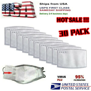 5-Layer Replacement of The Face Cover Filter in a Protective Cover MOAMUN Activated Carbon Filters 30pack-adultsize