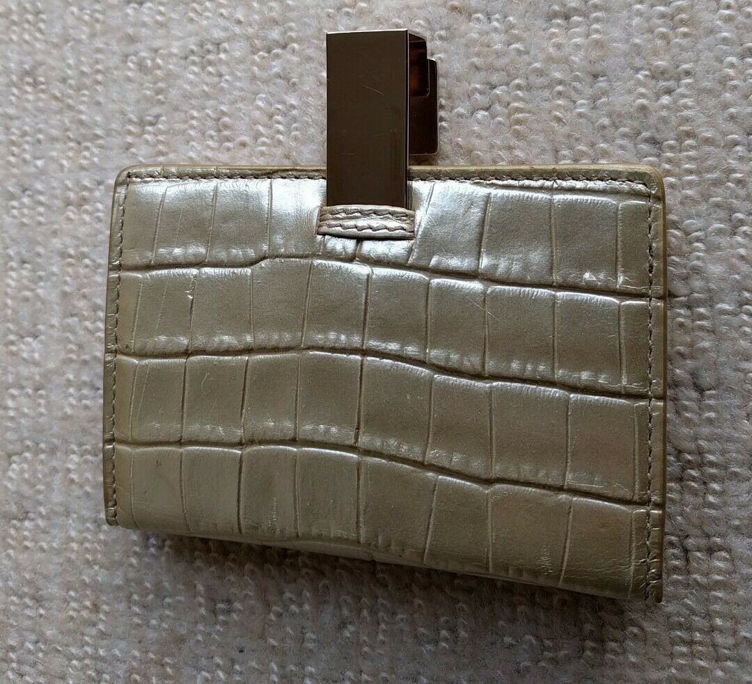 NEW Smythson Of Bond St Mara Credit Card Case Slim Fold Gold Leather RRP