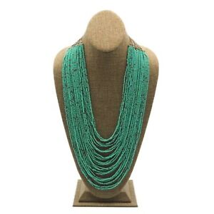 Silver Gray Tone Mint Green Seed Bead Multi Strand Fashion Necklace 22 Inch