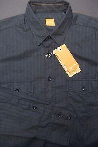 Hugo-Boss-Orange-165-Men-039-s-Eddaie-Long-Sleeve-Black-Cotton-Casual-Shirt-New-S