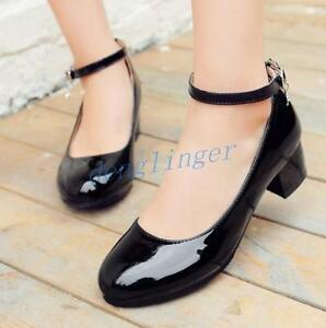 97d674feacfaf8 Mary Jane Lolita Pumps Shoes Womens Patent Leather Block Heel Ankle ...