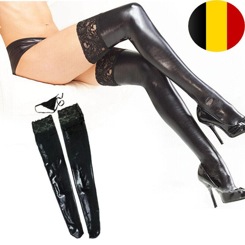 Damen Spitze Halterlose Overknees Kunstleder Strümpfe Glanz Wetlook Lange Socken