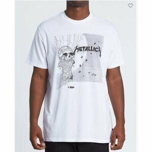 Billabong-X-Metallica-One-Ss-White-T-Shirt-New-S-M-L-XL-Summer