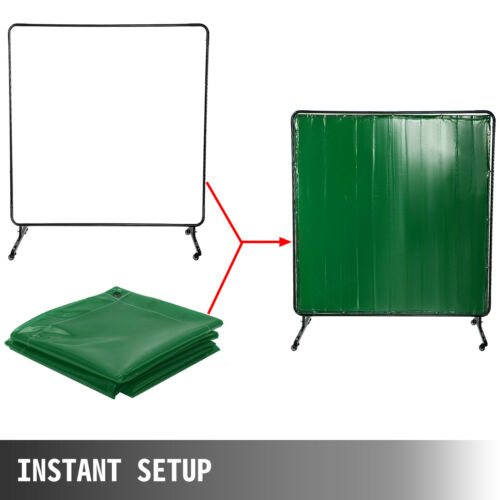 Welding Curtain Welding Screen with Frame Flame-resistant Vinyl 4 Wheels 6/' x 6/'