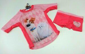 Kinder Badeshirt Badehose 98/104 kurzarm Badebekleidung Mädchen PETS Hund Katze