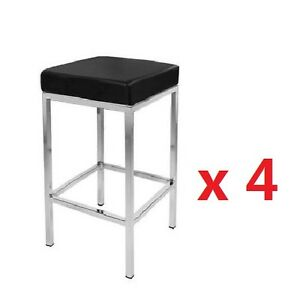 4-X-New-Vienna-PU-Leather-Bar-Stool-Kitchen-Chair-Black-or-White-Postage-Free