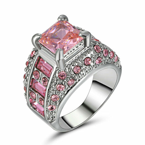 Luxury Size 7 pink CZ Black Gold white Filled Women Lady Engagement jewelry Ring