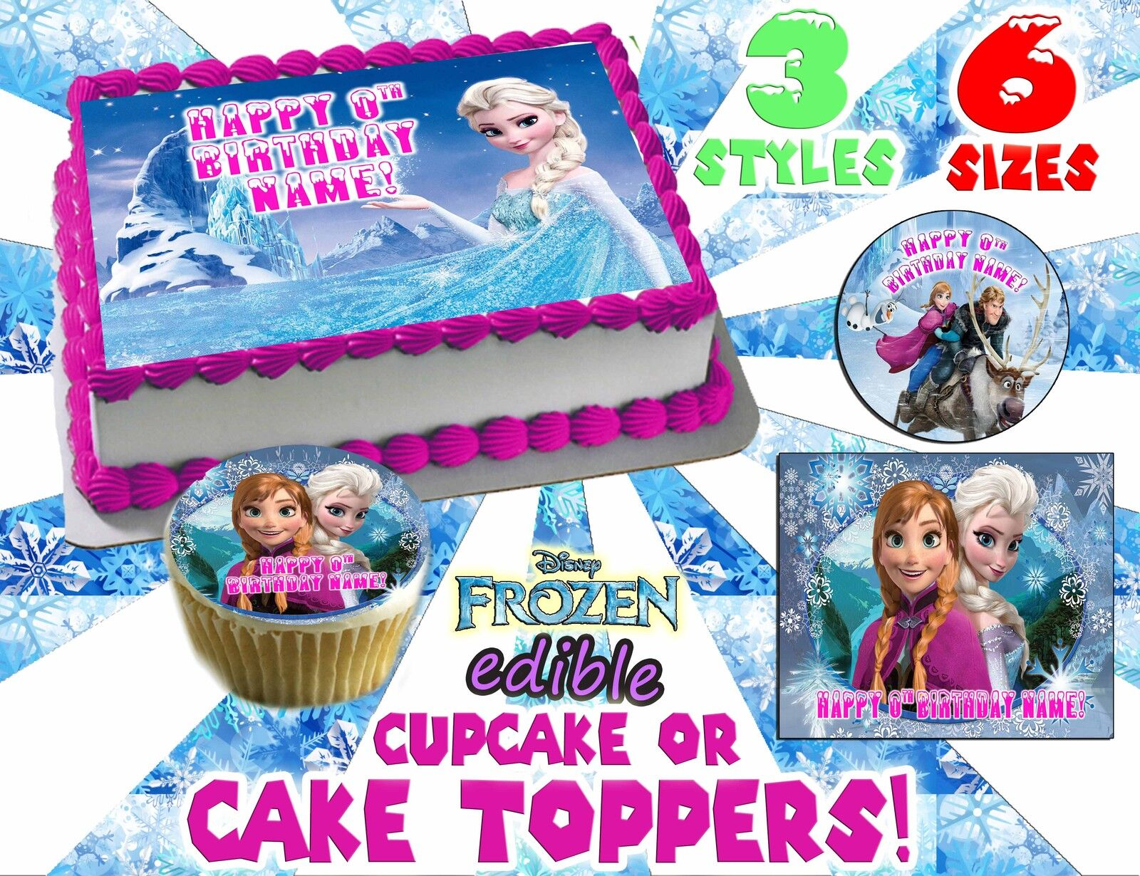 Excellent Frozen Elsa Ice Castle Princess Edible Image Photo Cake Topper Funny Birthday Cards Online Fluifree Goldxyz