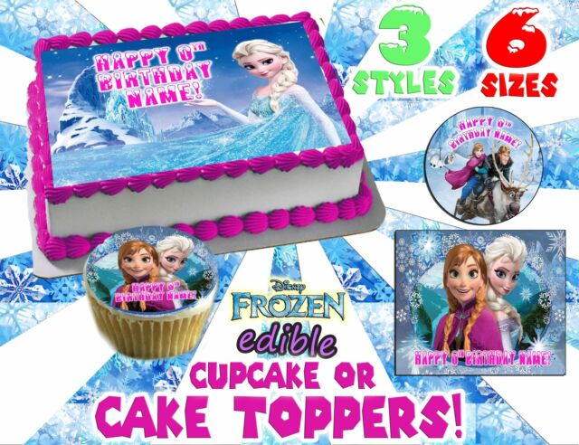 Awesome Disney Frozen Elsa Birthday Cake Edible Topper Decoration Icing Birthday Cards Printable Trancafe Filternl