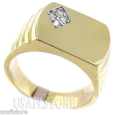 Mens Flat Top 4 Clear Stones 18kt Gold Plated Ring
